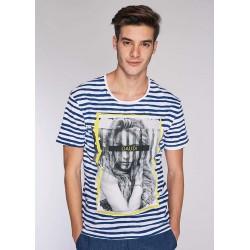 T-shirt a righe bianche e blu da uomo in cotone Gaudì IN SALDO | Saldi Estivi