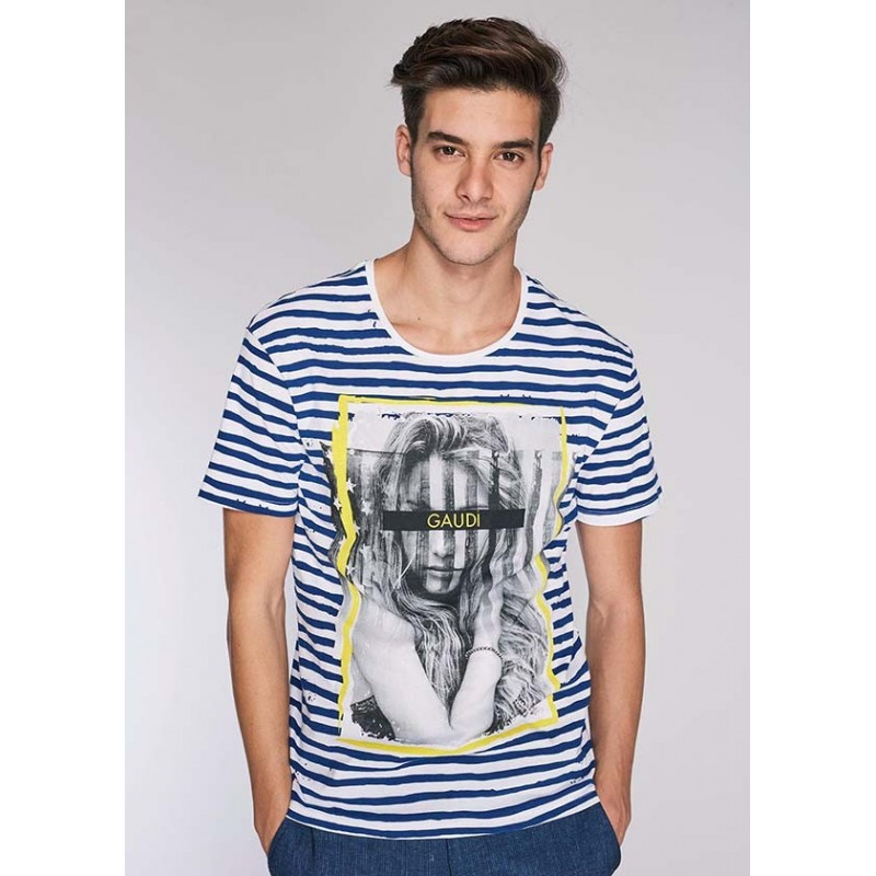 Men's Striped cotton T-shirt Gaudì | Spring Summer Sale