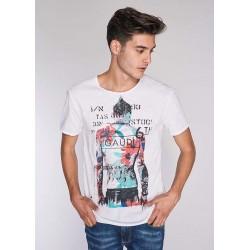 T-shirt blanc à manches courtes pour homme Gaudì | Soldes d'été