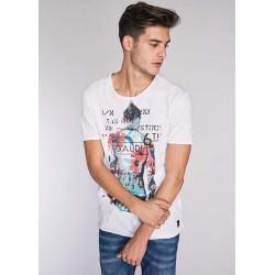 T-shirt bianca a maniche corte da uomo Gaudì IN SALDO | Saldi Estivi