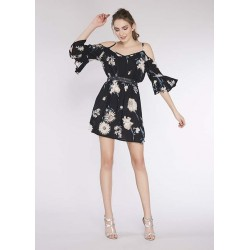 Mini abito floreale nero da donna Gaudì IN SALDO | Saldi Estivi