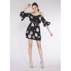 Robe courte florale noire pour Femme Gaudì | Soldes d'été