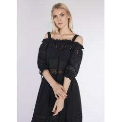 Blouse noire avec broderie anglaise pour Femme Gaudì | Soldes d'été