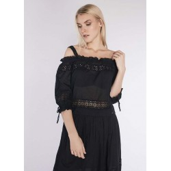 Blusa nera da donna con ricamo sangallo Gaudì IN SALDO | Saldi Estivi