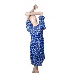 Abito da donna blu a fiori con sottoveste Gaudì