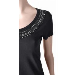 T-shirt nera scollo a barca con strass da Donna | Gaudì Primavera Estate 2020