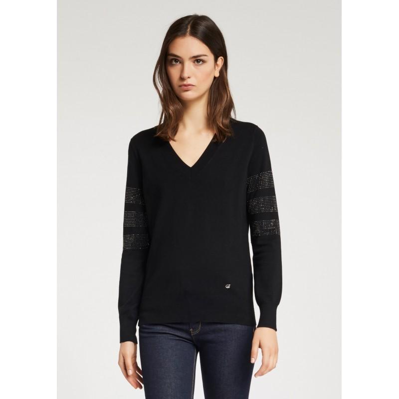 Maglia nera con strass Gaudì Jeans