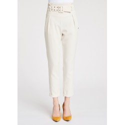 WINTER SALES | Woman - White High-waisted trousers with belt Gaudì
