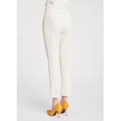 Pantaloni bianchi a vita alta con cintura Gaudì