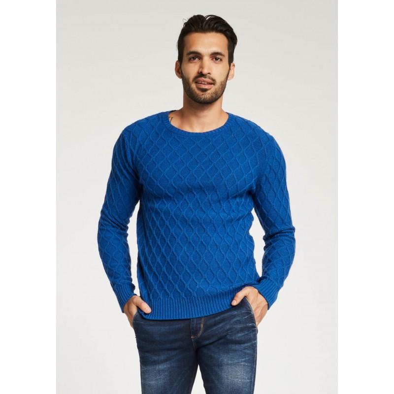 Maglione blu elettrico con trama 3D Gaudì