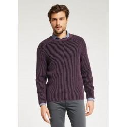 Maglione a costine contrasto colore viola Gaudì