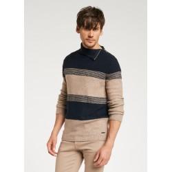 SALDI INVERNALI | Uomo - Maglione marrone - blu con zip Gaudì