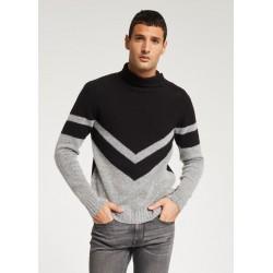 SALDI INVERNALI | Uomo - Maglione grigio - nero in misto lana e cammello Gaudì
