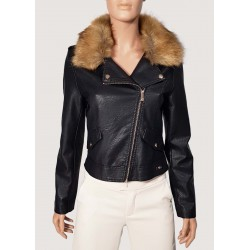 SALDI INVERNALI | Donna - Giacca nera in ecopelle con collo removibile Gaudì Jeans