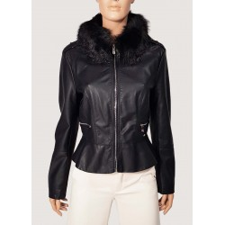 Faux leather jacket with...