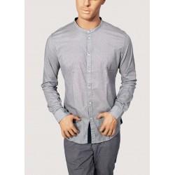 SALDI INVERNALI | Uomo - Camicia grigia e blu coreana in popeline stampato Gaudì