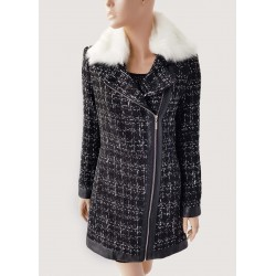 WINTER SALE | Woman - Black coat with white faux fur collar Gaudì