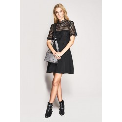 Short sleeve openwork dress