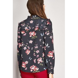 Long sleeve shirt with floral print and ruffles Gaudì