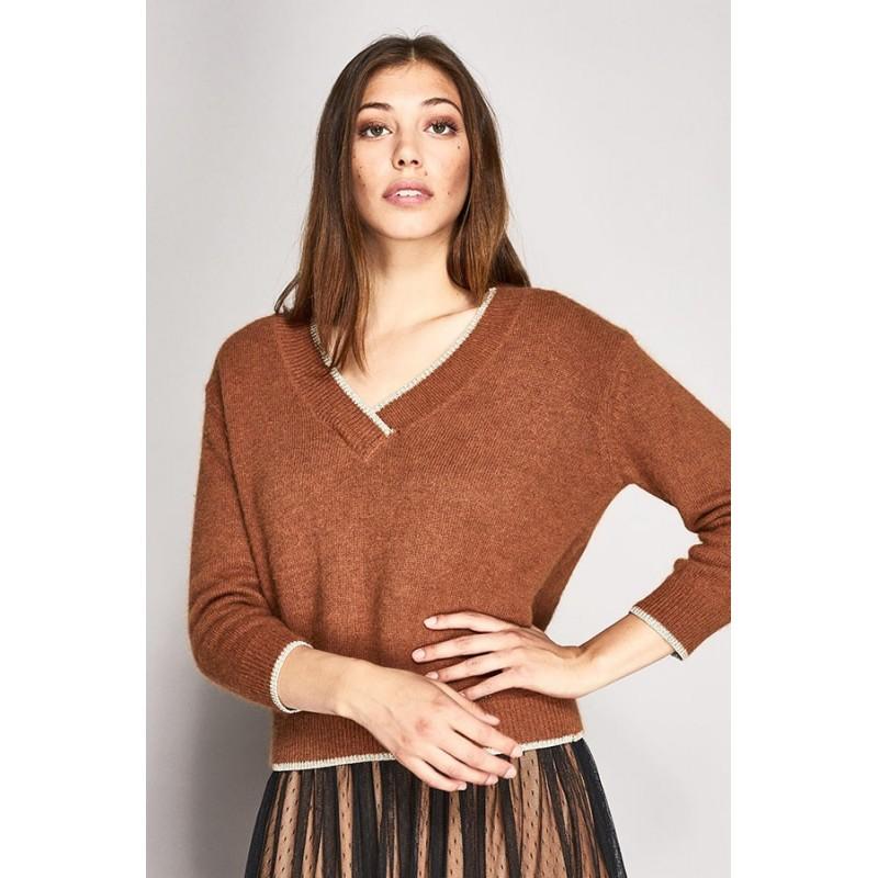 Long-sleeved V-neck sweater Gaudì