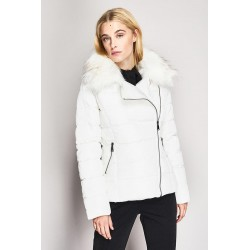Down jacket with faux fur detachable collar Gaudì
