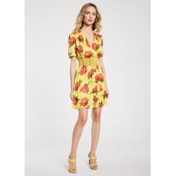 Mini-robe jaune florale pour Femme Gaudì Printemps Été 2020