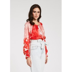 Blusa rossa in viscosa stampata da Donna Gaudì Primavera Estate 2020