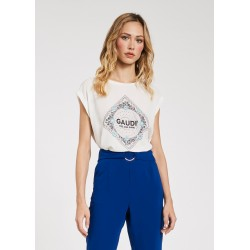 Women's Viscose T-shirt with rhinestones Gaudì Spring Summer 2020