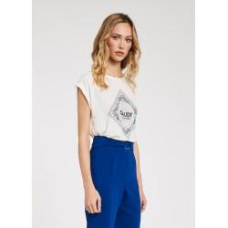 T-shirt bianca da Donna in viscosa con strass Gaudì Primavera Estate 2020