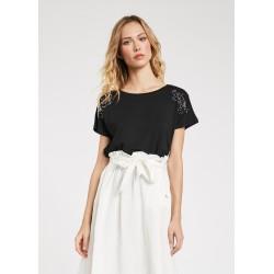 T-shirt nera da Donna in tessuto stretch Gaudì Primavera Estate 2020