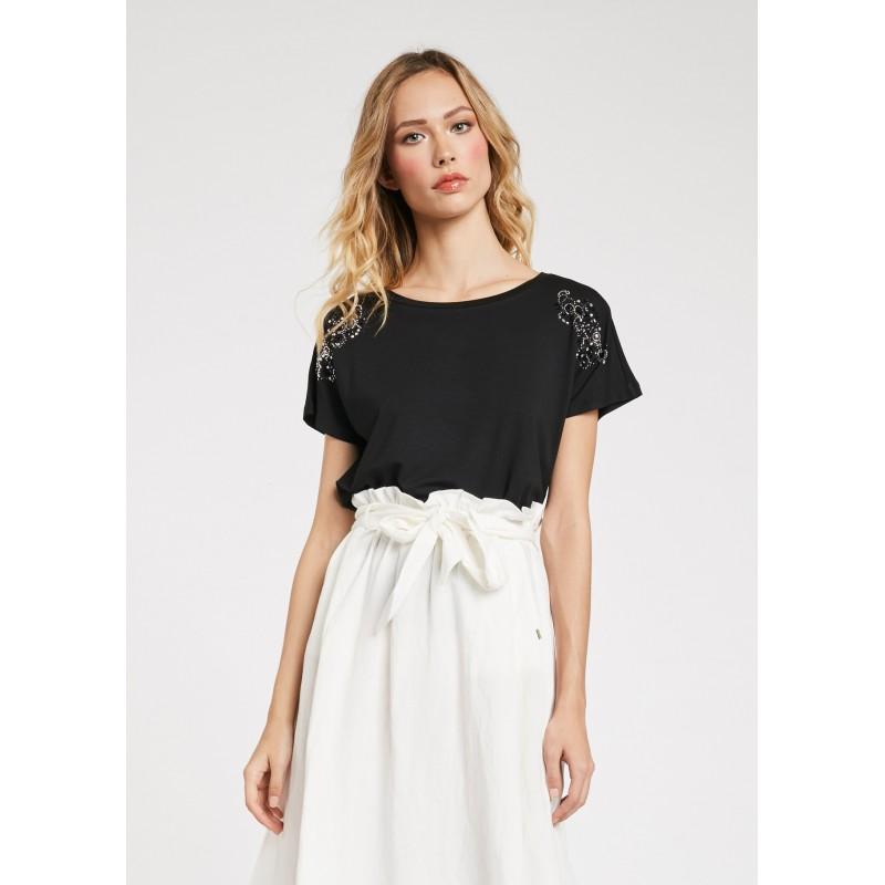 Women's Black T-shirt in stretch fabric Gaudì Spring Summer 2020
