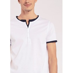 Men's White T-shirt with buttons Gaudì Jeans Spring Summer 2020