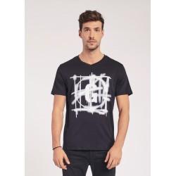T-shirt nera con stampa spray Gaudì Jeans Primavera Estate 2020