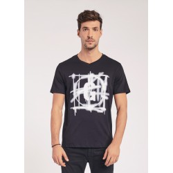 Men's Black T-shirt with spray print Gaudì Jeans Spring Summer 2020