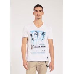Men's White V neck T-shirt Gaudì Jeans Spring Summer 2020