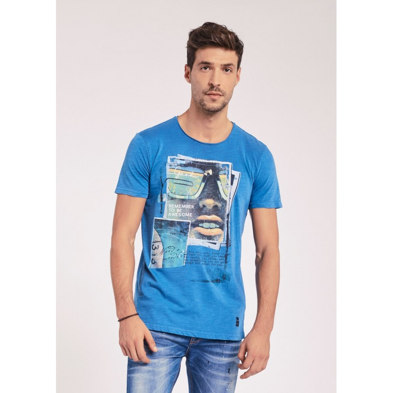 Men's blue T-shirt with short sleeves Gaudì Jeans Spring Summer 2020
