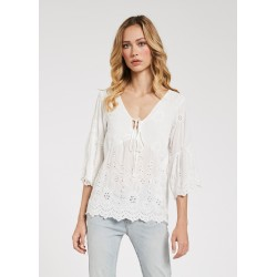 Women's Broderie anglaise viscose white blouse Gaudì Spring Summer 2020