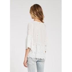 Blusa bianca da Donna in viscosa sangallo Gaudì Primavera Estate 2020